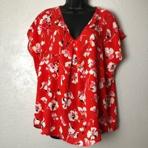 BOBEAU red floral oversized shirt blouse Sz Small